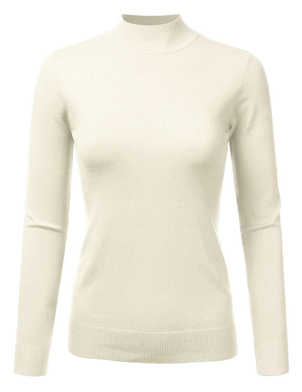 JJ Perfection Women's Soft Long Sleeve Mock Neck Knit Sweater Top Ivory M
