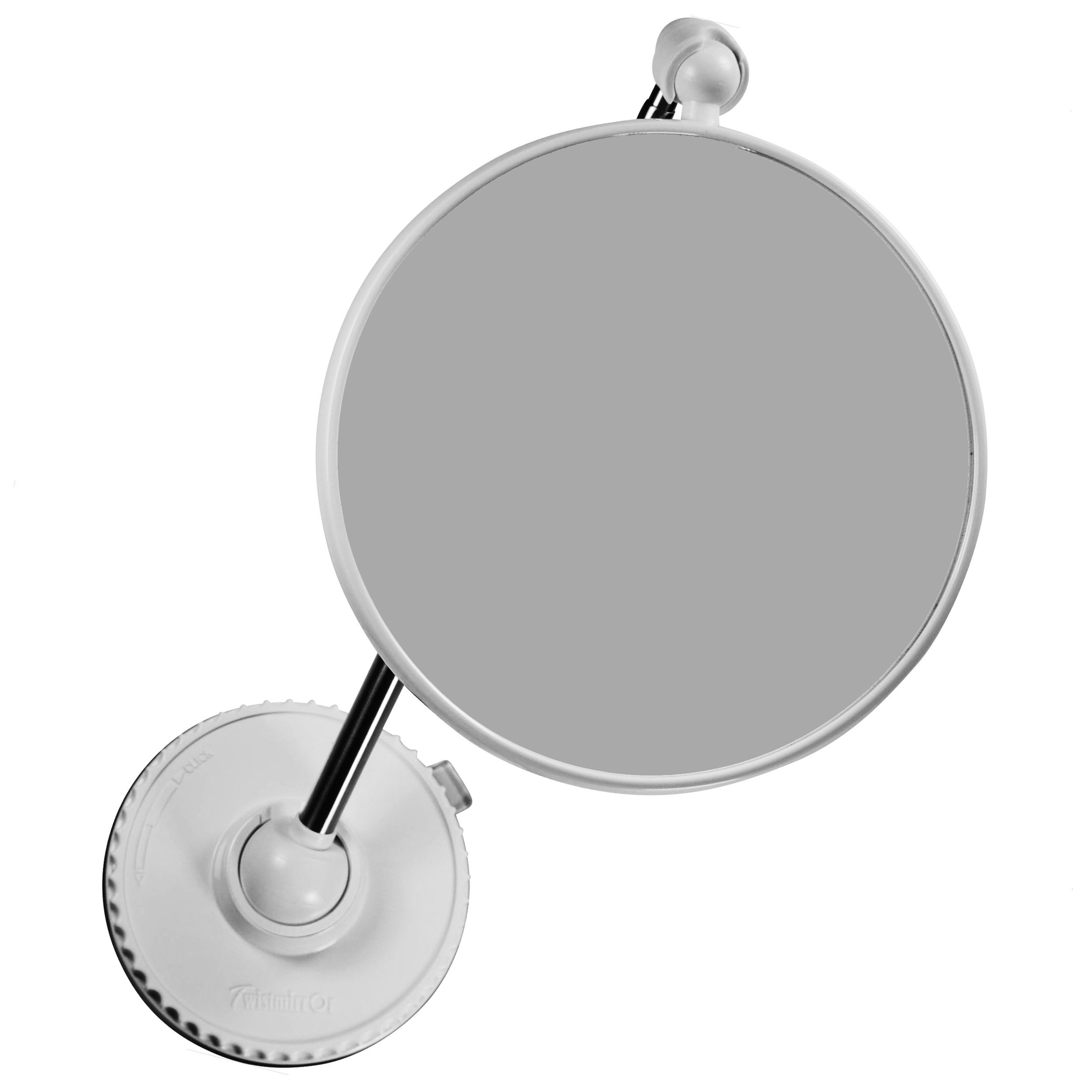 Telescoping Twistmirror 6X to 1X Suction Cup Magnifying Travel Mirror, White Base