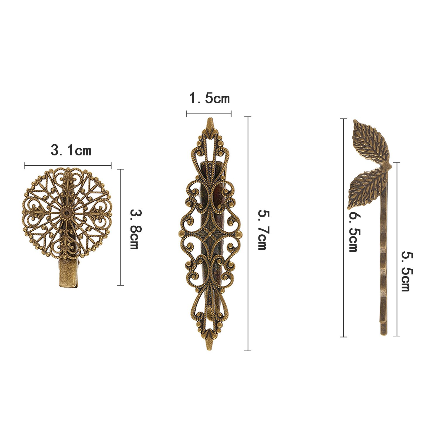 BBTO 22 Pieces Vintage Hair Clips Barrettes Bronze Leaf Bobby Pin Flower Butterfly Heart Hair Clip for Girls and Women, Mix Styles by BBTO (Image #2)