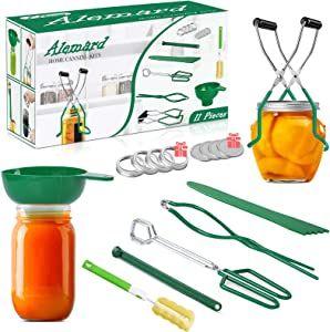 Canning Supplies Starter Kit, Home Canning Kit Canning Tools Set 11Piece for Canning Pot Canning Jars - Funnel, Jar Lifter, Lid Lifter, Jar Wrench, Can Tong, Brush, Bubble Popper, Canning Lids + Rings