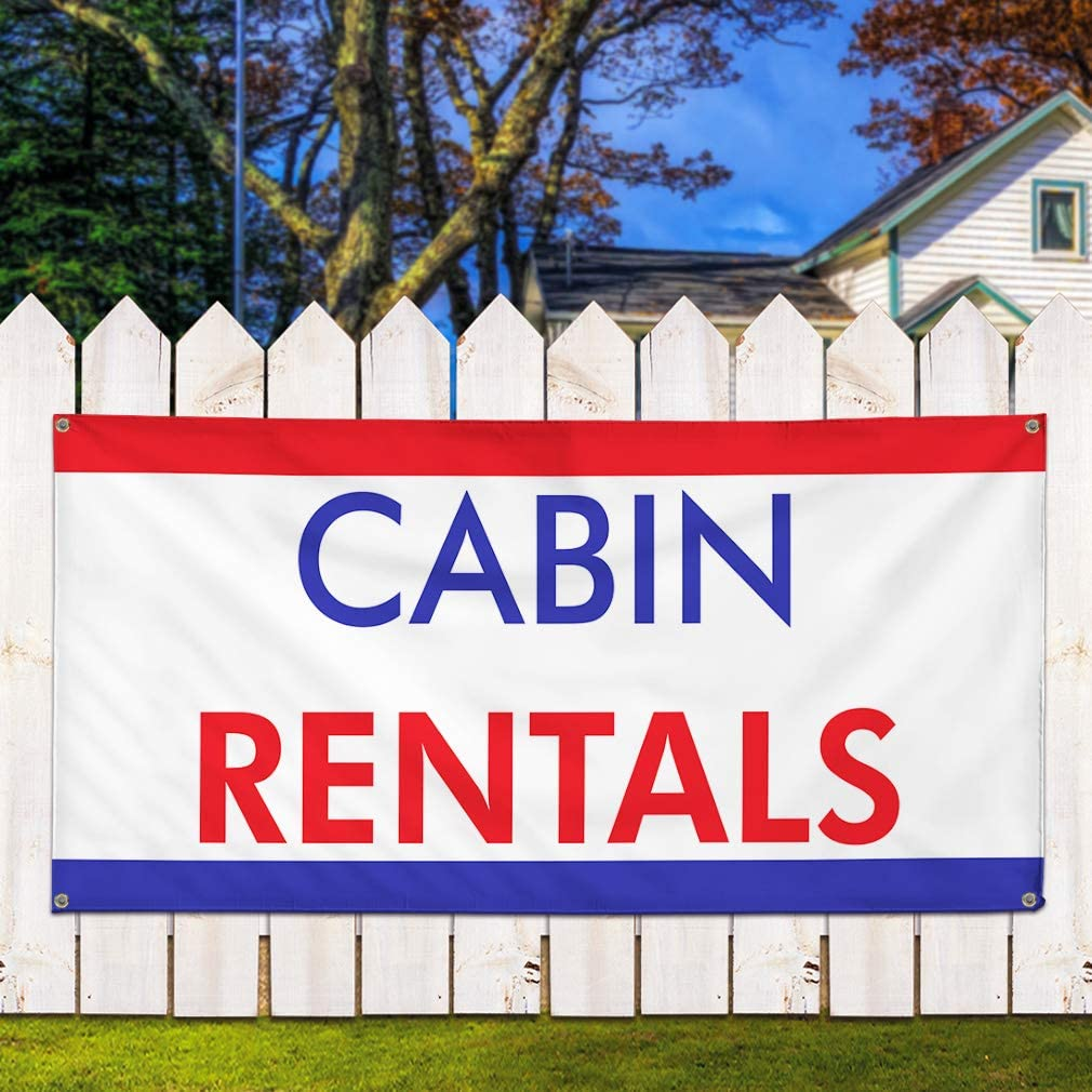 Multiple Sizes Available 28inx70in Vinyl Banner Sign Cabin Rentals Business Banners Outdoor Marketing Advertising White 4 Grommets Set of 2