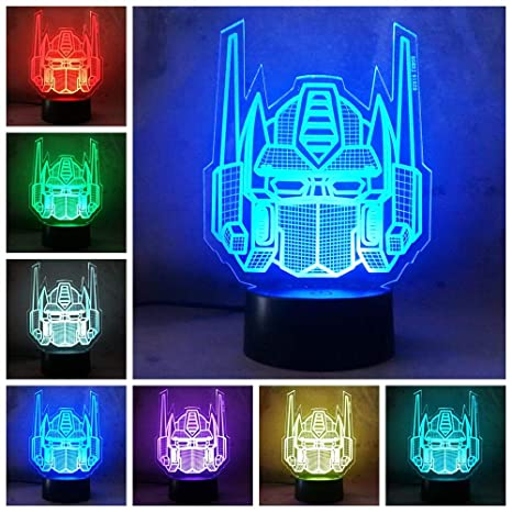 Amroe 3D Night Light Character Boy Gift Transformers Illusion Desk Table Led Night Light Colorful Lamparas