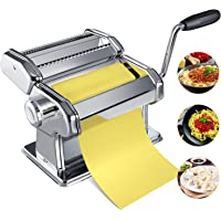 Pasta Maker Machine, Homemade Stainless Steel Manual Roller Pasta Maker With Adjustable Thickness Settings Sturdy Noodles Cutter with Clamp for Spaghetti, Fettuccini, Lasagna or Dumpling Skins