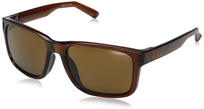 5ee09b76643f1 Under Armour Unisex Assist Shiny Crystal Dark Brown Black Frame Brown Lens  One Size