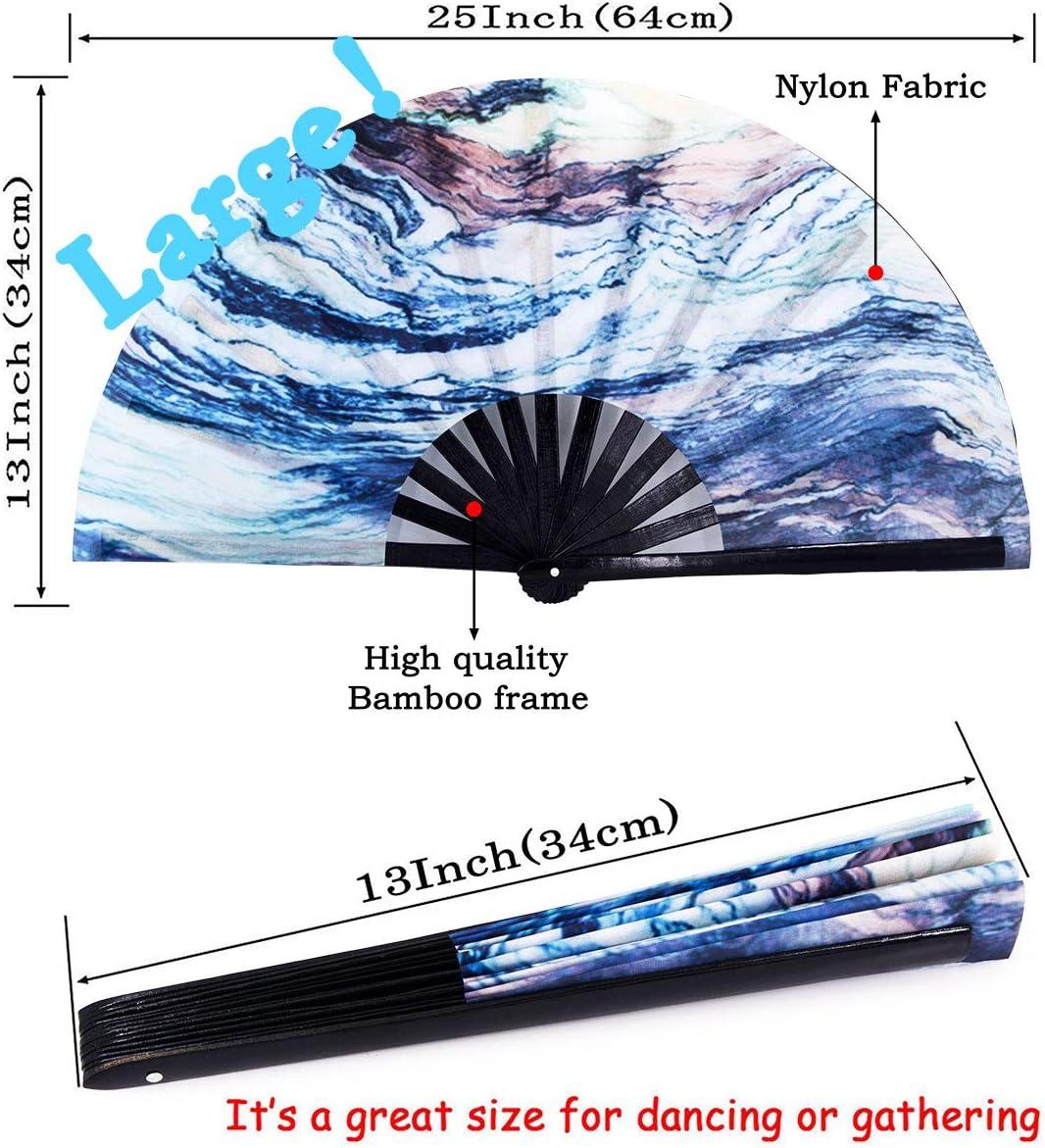 Chinease//Japanese Handheld Fan Bamboo Fan Dance Fan Gift Fan Craft Fan Amajiji Large Folding Hand Fan Rave Festival Accessories for Women Men Feather