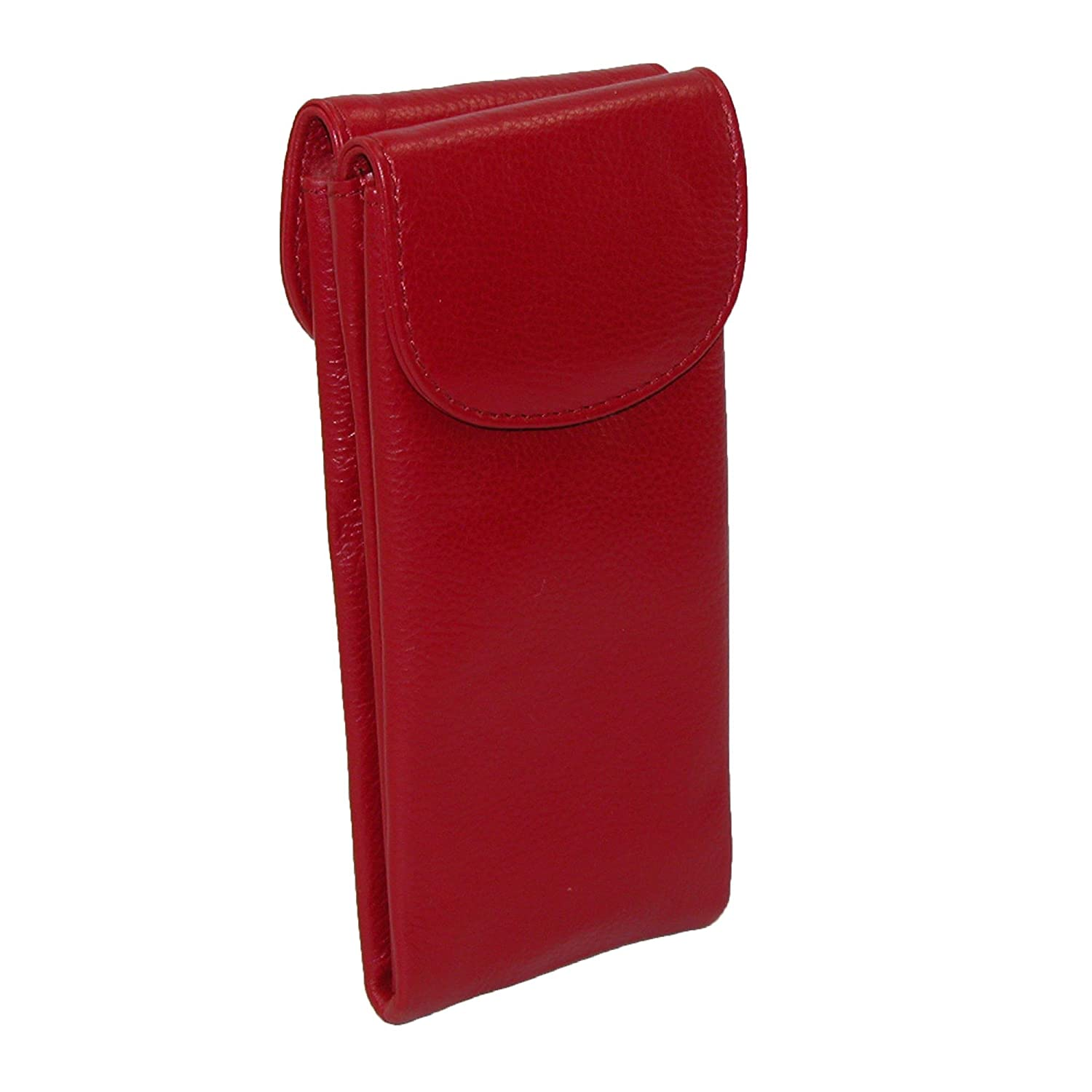 CTM Women's Leather Double Eyeglass Holder Case, Red IL-6470AZKIT-RED