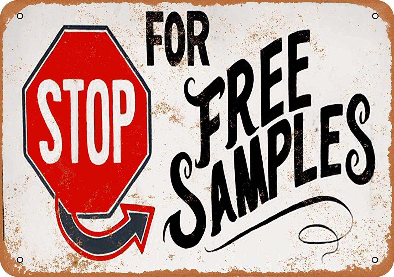 Stop for Free Samples Cartel de Pared de hojalata Placa de ...