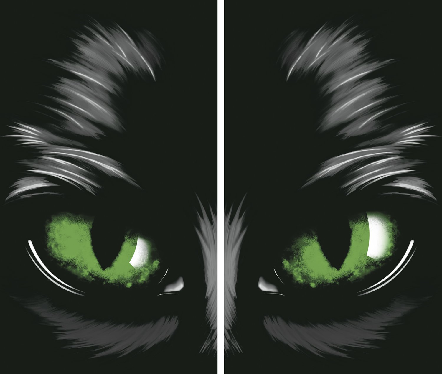WOWindow Posters Green Eyed Cat Halloween Window Decoration Two 34.5
