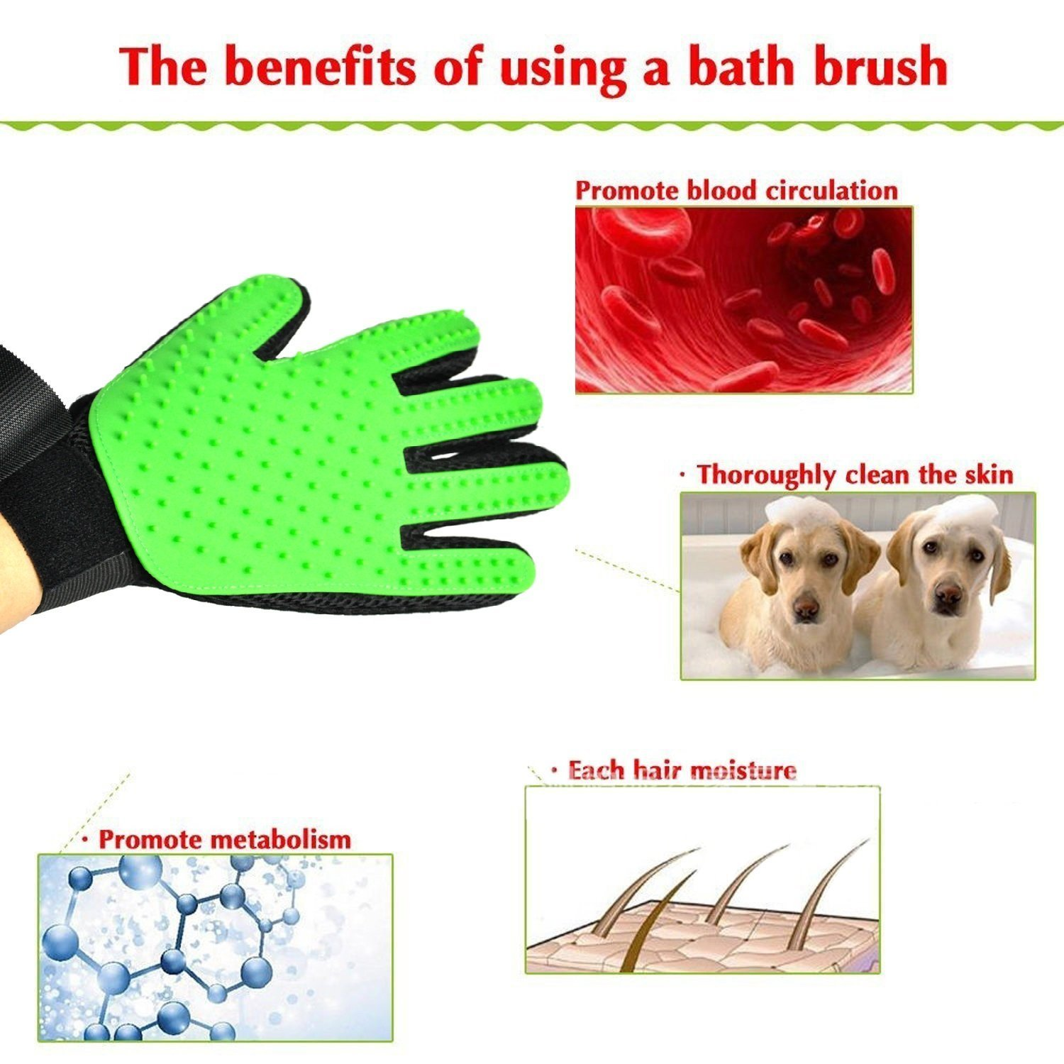 Petbob Pet Grooming Glove,Pet Deshedding Glove,Soft Gentle Pet Bath Massage Mitt,Silicone Pet Dematting Hair Removal Brush Glove Comb, For Long and Short Haired Dogs Cats Bunnies (green) by petbob (Image #2)