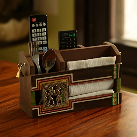 ExclusiveLane 'Dhokr-A-Rrange' Hand-Painted Wooden Pen Stand Card Holder Table Organiser, Brown Desk Supplies, Organisers & Dispensers at amazon