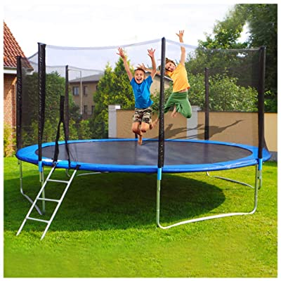 G&Kshop 12 FT Kids Round Trampoline, High Weight Limit Outdoor Trampoline, Jumping Table with Enclosure Net Jumping Mat and Spring Cover Padding Bounding Bed: Sports & Outdoors