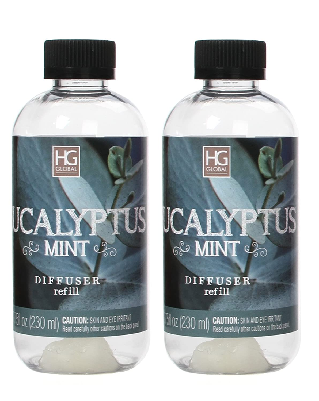 Aromatherapy Hosley's Set of 2 Premium Eucalyptus Mint Reed Diffuser Refills Oil, 230 ml (7.75 fl oz) Made in USA. BULK BUY. Ideal GIFT for Weddings, Spa, Reiki, Meditation Settings W1 B07B5RRGND