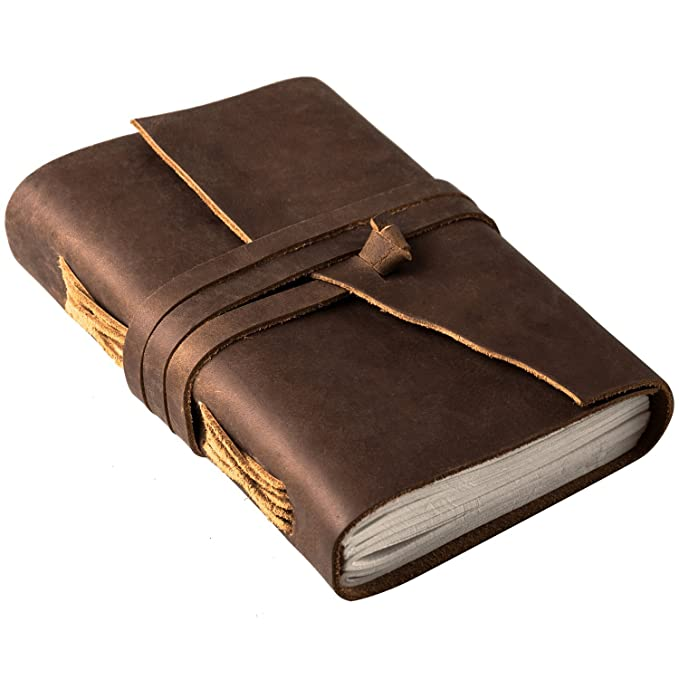 Rusteque Leather Journal Writing Notebook: Vintage Unlined Diary Or Journals/Notebooks for Men and Women - Blank Note Taking Or Sketch Book to Write in with Antique Page Set and Cover - 7x5 in