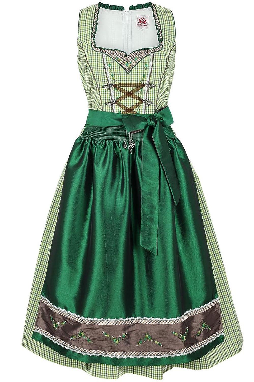 Damen Spieth & Wensky Dirndl mittel grün-weiß kleinkariert, grün,
