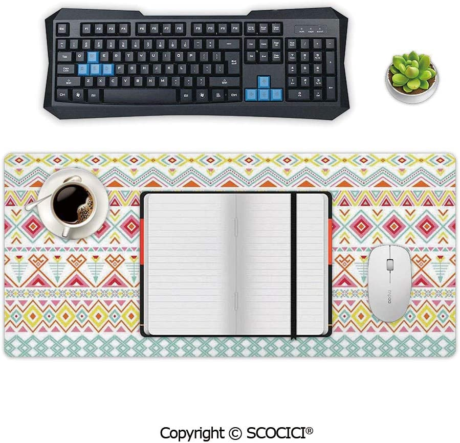 Inspired Patterns Stripes Fun Spring Colors Native Style Extended Size Desk Mat Non-Slip Rubber Mouse Pad 23.6 x 11.8 AmaUncle Professional Large Gaming Mouse Cushion