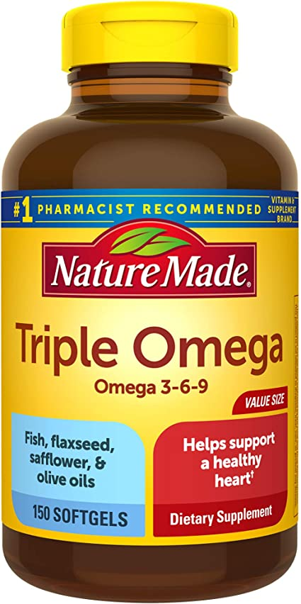 Amazon Com Nature Made Triple Omega 3 6 9 Softgels 150 Count