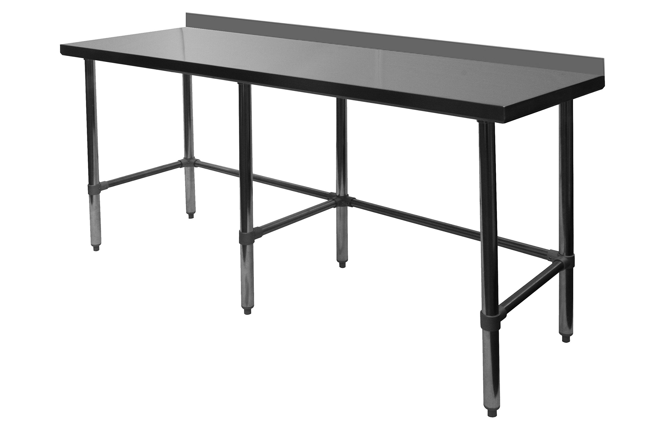 ACE Open Base All Stainless Steel Commercial Work Table w/ 4'' Backsplash 30''W x 96''L x 35''H, ETL Certified, WT-PB3096B