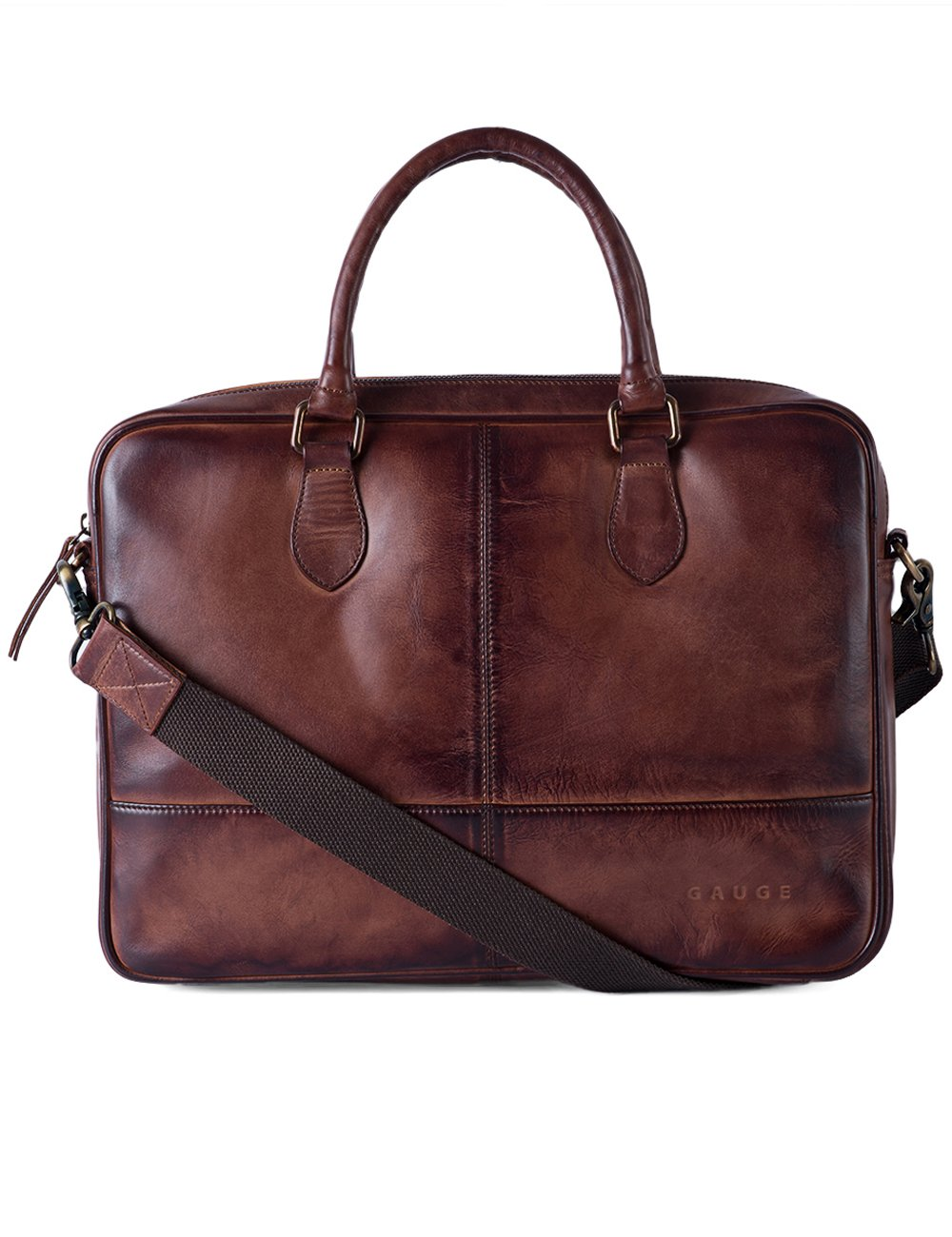 Gauge 15 Inch Hand Padded Leather Laptop Bag Messenger Bag Office Briefcase College Bag Satchel for Men (Brown)
