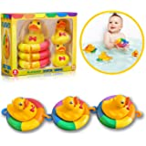 Playahoy Duck Tubing Floating Bath Toys for Boys and Girls Bathtub Float Play Connecting Rings with Ducks for Baby Toddlers and Kids