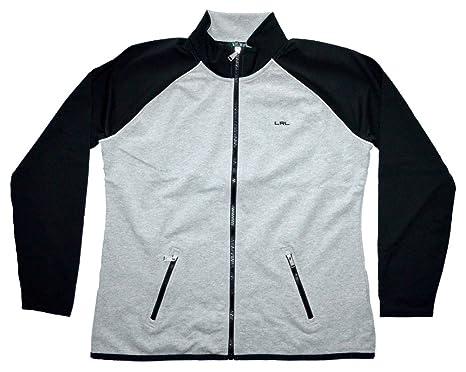 Lauren Active By Ralph Lauren Womens Full Zip Jacket, (Gray/Black, XS