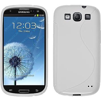 PhoneNatic Funda de Silicona Compatible con Samsung Galaxy S3 Neo - S-Style Blanco - Cover Cubierta + Protector de Pantalla