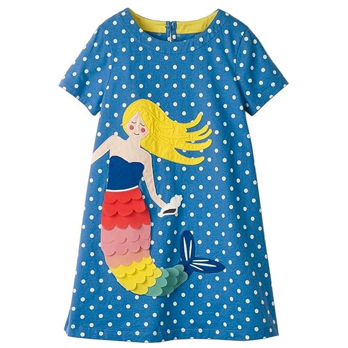24734e2466e54 Little Girls Dress Casual Cotton Kids Unicorn Appliques Striped Jersey Dress  (2T, 2GDS398)
