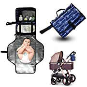 Diaper Clutch Portable Changing Pad - Stylish Diaper Change Mat, Waterproof Travel Home Changing Station, Lightweight Baby Diaper Changer Pad with Pockets Blue