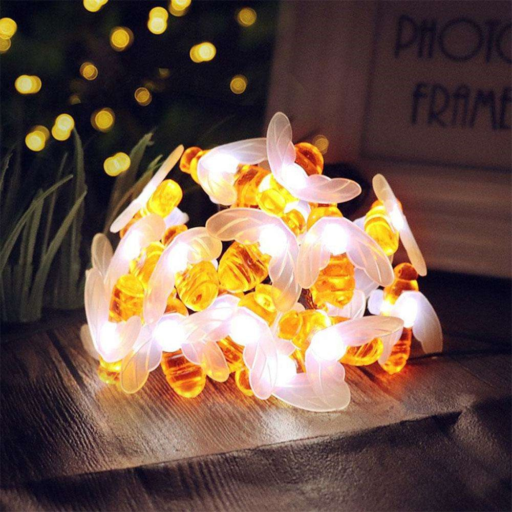 FuriGer Solar Outdoor String Lights, 30LED Creative Honey Bee Shape Decoration Waterproof Light for Garden,Patio,Yard,Home,Parties-White