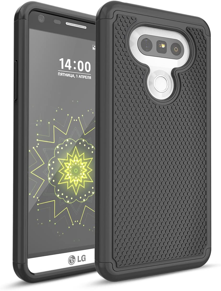 LG G5 Case, TILL Shock Absorbing Hybrid Dual-Layer Defender Rugged Slim Case Soft Interior Silicone Bumper Hard Solid PC Back Cover Shell for LG G5 Phone AT&T T-Mobile Sprint Verizon Unlocked [Black]