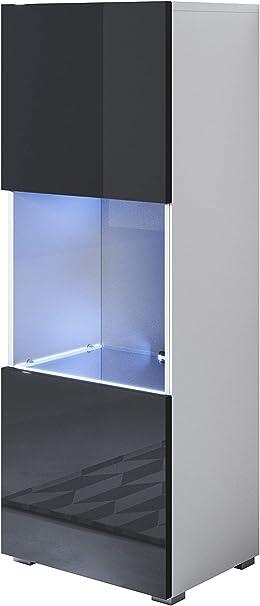 muebles bonitos Vitrina Modelo Luke V3 (40 x 128 cm), Color Blanco y Negro con Patas estándar: Amazon.es: Hogar