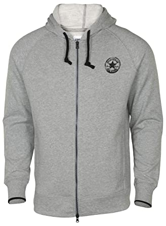 95b50bd9cb4e Converse Men s All Star Core Plus Two Way Full Zip Hoodie-Heather Grey-XS  at Amazon Men s Clothing store