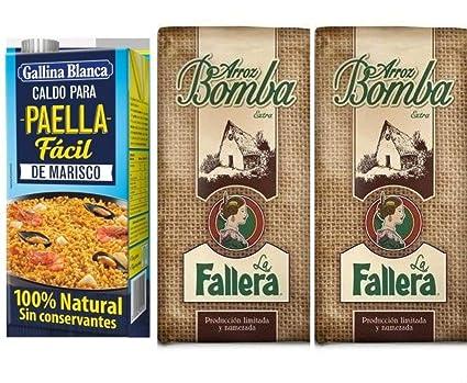 Lote 2 kg. arroz bomba la Fallera más 1lt. caldo Paella ...