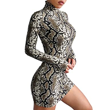 e36bf56b99a Women Snakeskin Print Zebra Animal Print Club Dress Turtleneck Sexy Bodycon  Party Mini Dress  Amazon.co.uk  Clothing