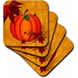 Doreen Erhardt Autumn Collection - Large Orange Pumpkin with Golden Grunge and Autumn Maple Leaves - set of 4 Ceramic Tile Coasters (cst_240093_3)