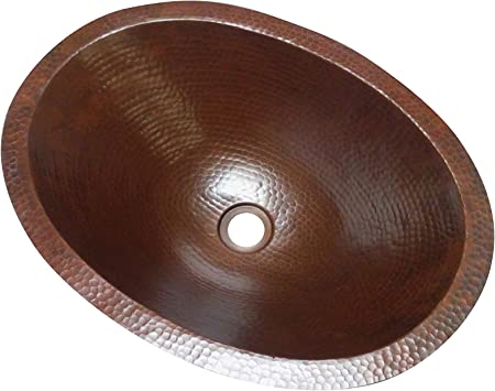 """15/""""X12/""""X 6/"""" OVAL SINK UNDERMOUNT 100 /% COPPER HAND MADE"""