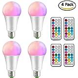 iLC Ampoule Led Couleur Edison Changement de couleur Ampoule 10W E27 Dimmable RGBW LED Ampoules [2017 Deuxième génération] - RGB 12 choix de couleur - Télécommande Compris (Lot de 4)