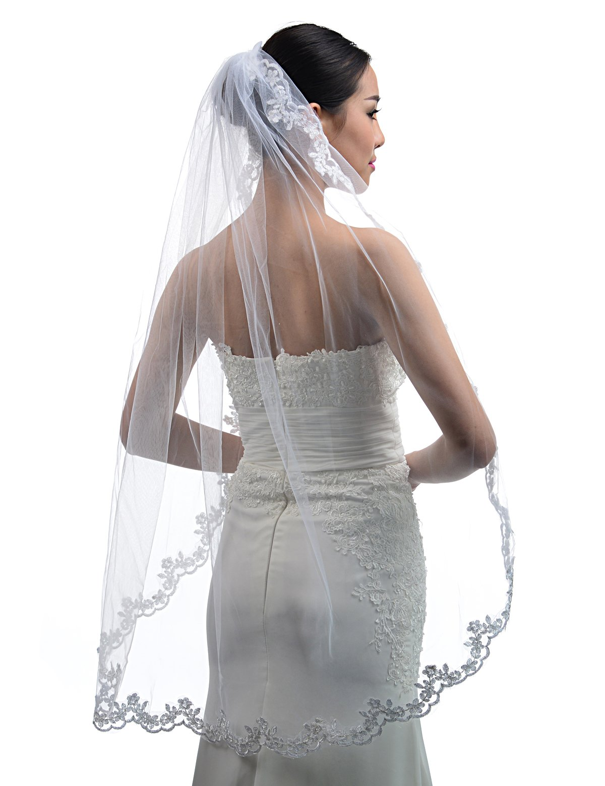 Topwedding Fingertip Length 1 Tier White Bridal Wedding Veil with Lace Hem and Comb