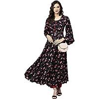 Tissu Women's Black Floral Printed Kurta With Pyjamas