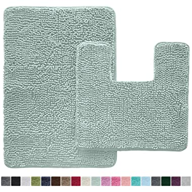Gorilla Grip Original Shaggy Chenille 2 Piece Bath Rug Set, 19x19 Square U-Shape Contoured Toilet Mat & 30x20 Carpet Rug, Machine Wash/Dry Mats, Soft, Plush Rugs for Tub Shower & Bath Room (Spa Blue)