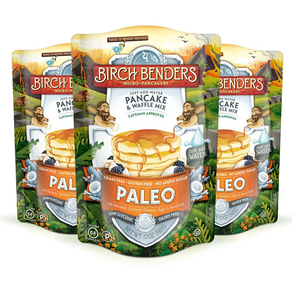 Paleo Pancake and Waffle Mix by Birch Benders, Made with Cassava, Coconut, Almond Flour, 12 Ounce (Pack of 3) by Birch Benders
