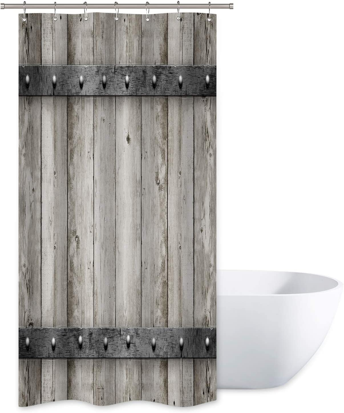 """Riyidecor Rustic Barn Door Shower Curtain 36"""" W x 72"""" H Small Stall Wooden Metal Texture Bathroom Decor Fabric Panel Polyester Waterproof with 12 Pack Plastic Shower Hooks"""
