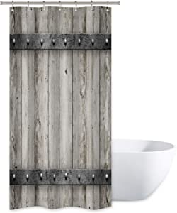 "Riyidecor Rustic Barn Door Shower Curtain 36"" W x 72"" H Small Stall Wooden Metal Texture Bathroom Decor Fabric Panel Polyester Waterproof with 12 Pack Plastic Shower Hooks"