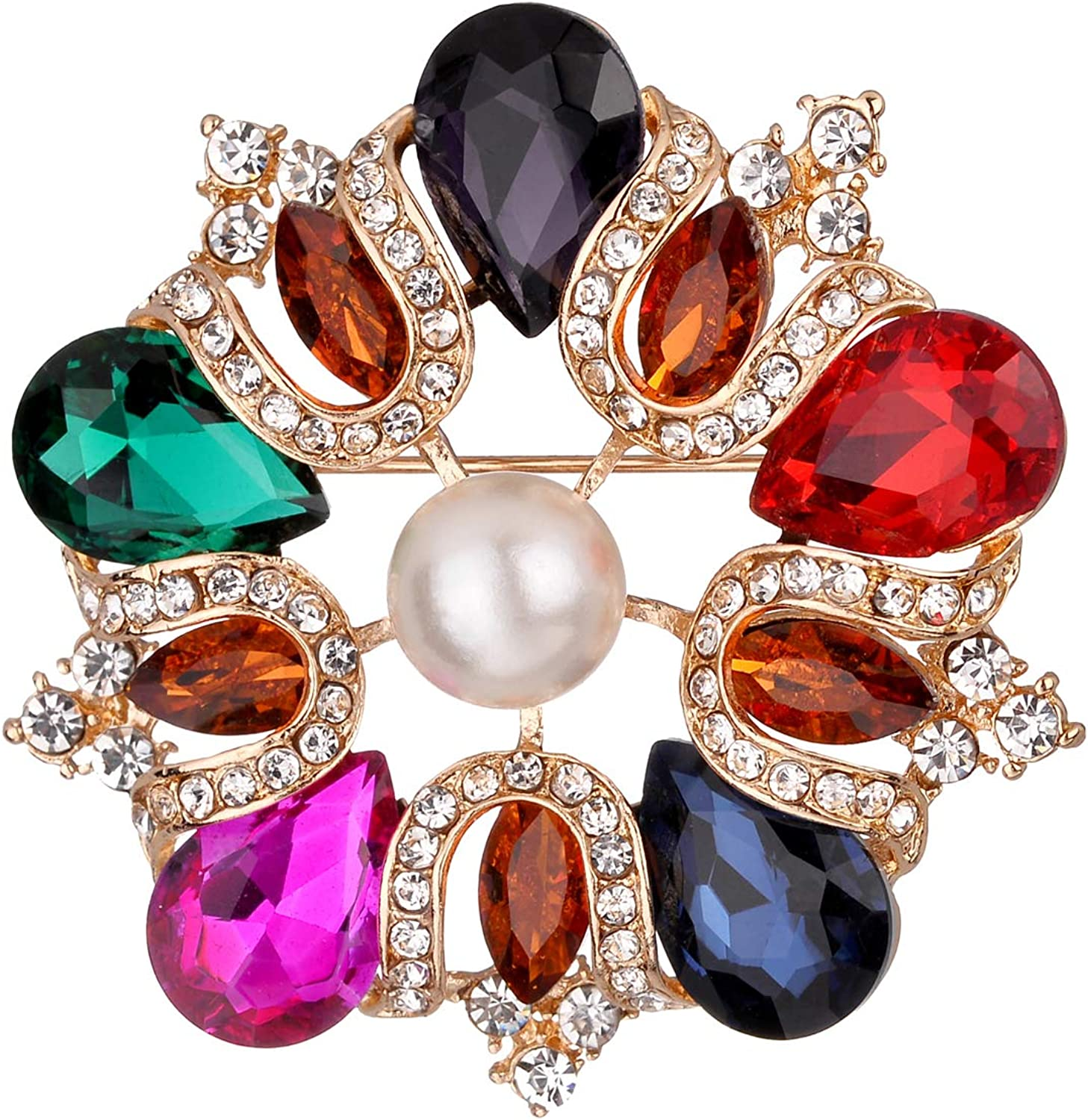 Jones New York Gold Purple Red Blue Fuscia Pink Green Teardrop White Pearl Brooches and Pins