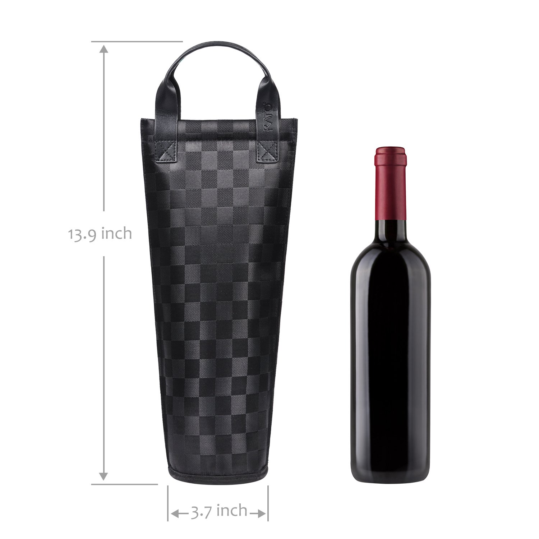 Un Cadeau Id/éal pour Tout Amateur de vin Kato Unique Vin Sac fourre-Tout Noir Pique-Nique Isotherme Rembourr/ée Thermique Bouteille de Vin de Transport Cooler Sac de Transport pour Voyage