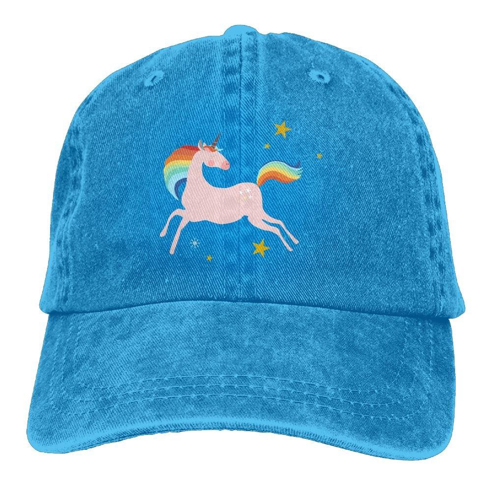 Im Magical Rainbow Unicorn Plain Adjustable Cowboy Cap Denim Hat for Women and Men