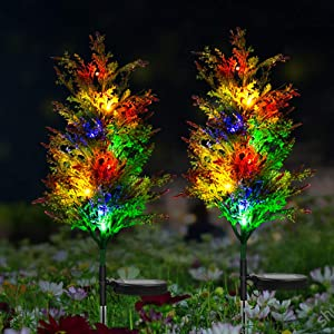 Idefair Solar Garden Lights 2 Pack Outdoor Multi-Color Changing LED Stake Lights Lily Flower for Garden, Patio, Yard and Decoration (Coniferous Tree,2 Pack)