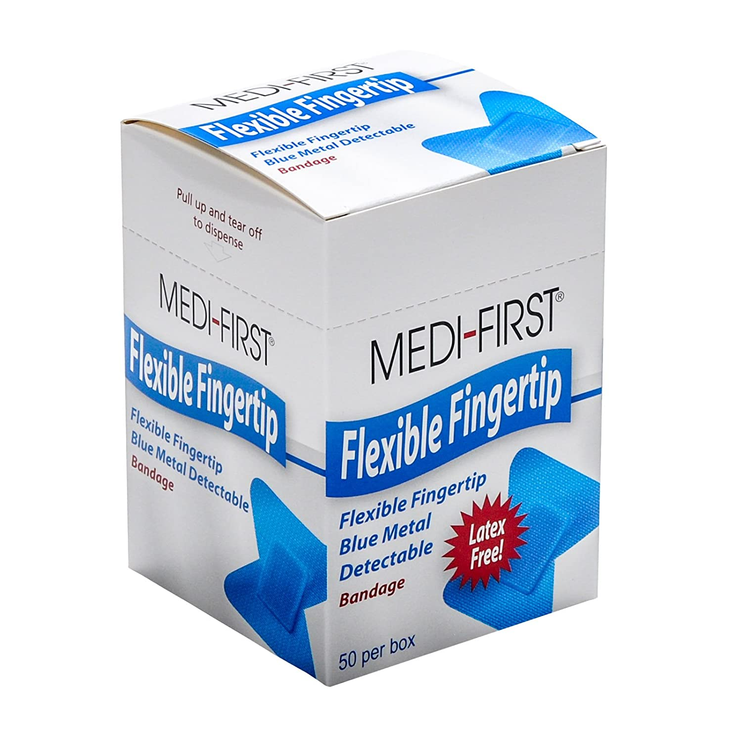Medique Products 66050 Metal Detectable Bandages, Woven Fingertip, Blue, 50-Per Box