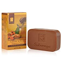 SABUNNGA Turmeric Soap with Soothing Honey Turmeric Bar for Face and Body Reduces Redness, Fades Age Spots, Skin Tone (3.52 oz)