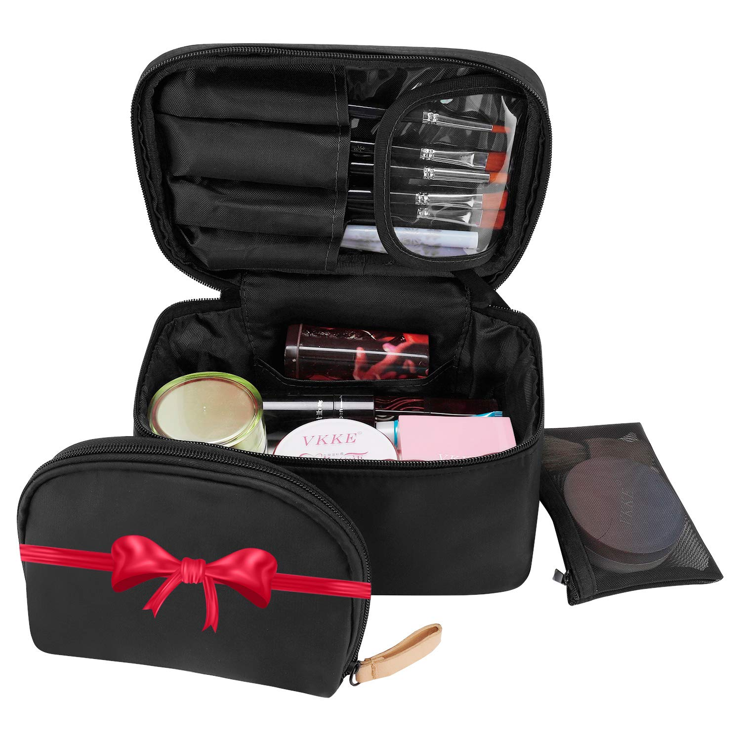 Travel Makeup Bag,Makeup Bag Organizer Cosmetic Makeup Bags for Women Make Up Cosmetic Bag Case with Brush Holder-Bonus Cosmetic Pouch