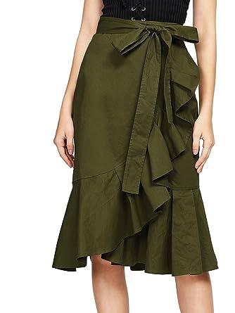 44130a6ae02e Verdusa Women's Self Tie Flounce Trim Wrap Skirt at Amazon Women's ...